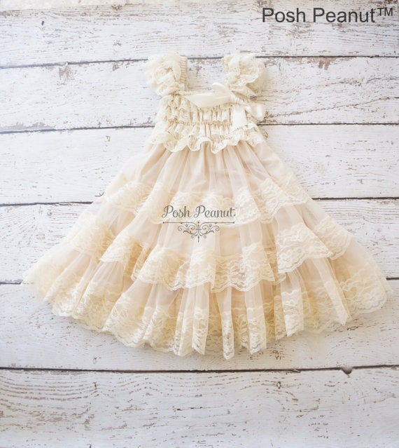 Champagne Flower Girl Dress Lace Baby Dress Rustic Flower