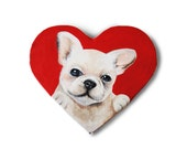 Valentine's day pet gift custom portrait painting from photo on heart canvas french bulldog art / dog / cat