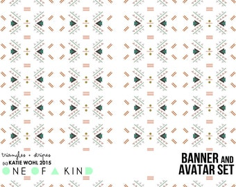 Triangles and Stripes - banner & shop icon set