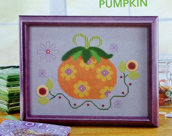 Cross Stitch Pattern FLOWER POWER PUMPKIN By Fresh Thread Studio - fam