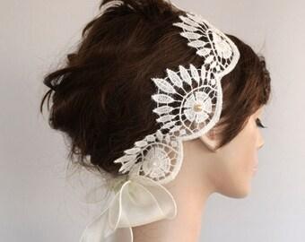 Juliette Cap Deco Bridal Lace Headpiece Applique Organza Glam Headband, OOAK