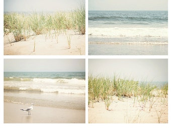 Beach Photo Set, beach photography, ocean photography, beach decor, ocean print four beach photos, ocean art, beach house decor, ocean decor