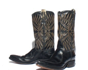 8 D | 1970's Vintage Dan Post Cowboy Boots Black Stovepipe Western Boots w/ Moc Toe