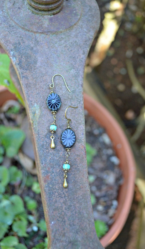 Midnight Black Earrings picasso Czech Glass handmade jewelry gift long beaded earrings