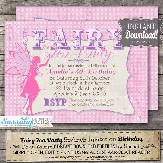 Fairy Tea Party Invitation INSTANT DOWNLOAD Editable – Fairy Tea Party Invitations