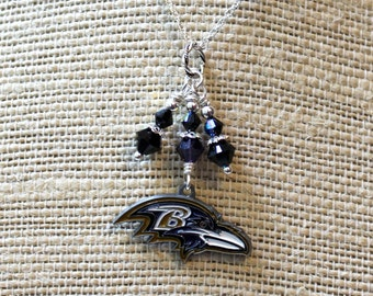 Baltimore Ravens Charm Necklace, Sterling Silver  | Ravens Jewelry | Maryland Sports Jewelry