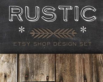 Etsy Banner Shop icon - Shop Design Banners Set RUSTIC - Chalkboard Wood Simple Minimalistic Shop Theme