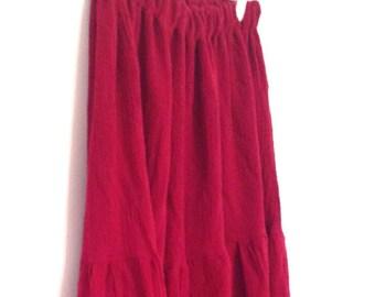 Bohemian Long Tiered Skirt - Red Hippie Summer Cotton Gauze Skirt