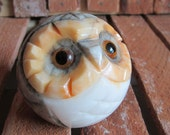 Owl - Paperweight - Alabaster - Carved Owl Paperweight - Italian