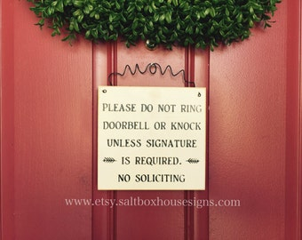 Signature Required No Soliciting Door Sign