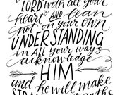 INSTANT DOWNLOAD - Trust In the Lord - 8x10 Hand Lettered Design by Mandy England