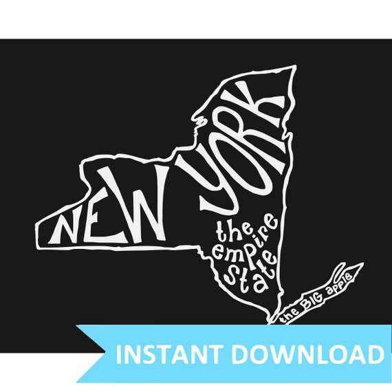 INSTANT DOWNLOAD - New York the Empire State (and the Big Apple) - 8x10 Illustrated Print by Mandy England