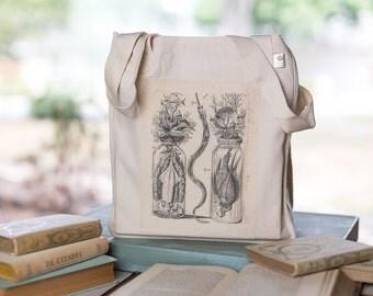 Botanical Specimen Tote, Organic Cotton Canvas Bag, Eco Tote, Seashore Still LIfe, Ocean Tote, Market Tote
