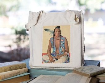 Native American Tote, Organic Cotton Canvas Bag, Book Bag, Market Tote, American Indian