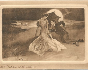 Partial Eclipse of the Moon Couple Lying on Beach with Parasol Vintage Postcard Canadian Postage