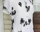 Black and White Sheer 1990s Shirt Button Up Short Sleeved Blouse Roses Floral