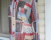 Psychedelic Patchwork Print Vintage 1970s Oxford Hippie Boho Button Up Shirt