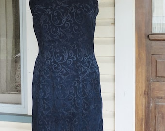 Navy Blue Brocade Wiggle Dress 1990s Mini Dress Shift Dress