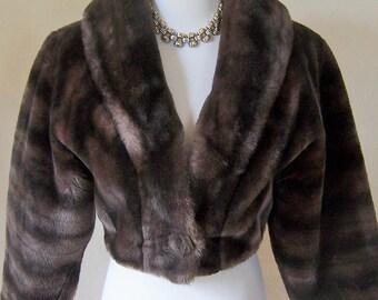 I.Magnin vintage 60s chubby faux fur cropped bolero coat jacket XS/S