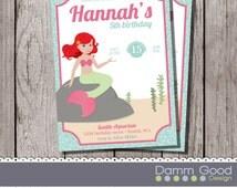 Mermaid invitation, customizable invitation, little girl invitation, Birthday invite, birthday invitation, mermaid party
