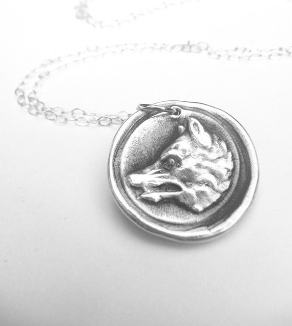 Wolf pendant wax seal necklace made from recycled fine silver, wolf jewelry, Game of Thrones Stark crest