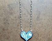 Kansas City Royals Heart   KC Heart Necklace   Tiny Heart Charm   Custom Sports Jewelry   KCMO Necklace   Light Blue and White Heart