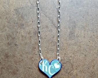 Kansas City Royals Heart | KC Heart Necklace | Tiny Heart Charm | Custom Sports Jewelry | KCMO Necklace | Light Blue and White Heart