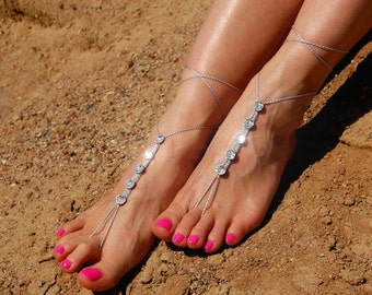 Barefoot Sandals- Beach Wedding- Foot Jewelry- Swarovski Footless Sandals- Barefoot Wedding Sandal- Bridesmaid gift- Boho Wedding Shoes