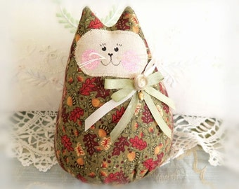 Cat  Doll 6 in. Free Standing Kitty, Autumn Fall Leaves Acorn Print Cat Primitive Handmade CharlotteStyle Decorative