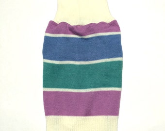 Designer Dog Sweater, Small Blue, Green and Purple Striped Turtleneck Handmade Pet Puppy Apparel Clothes 0020