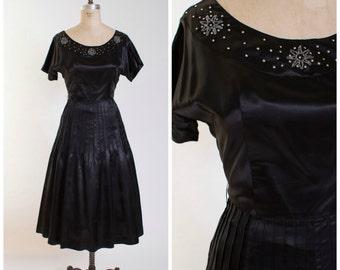 Vintage Early 1950s Dress Inky Black Satin 50s Vintage Party Dress with Rhinestones Size Medium