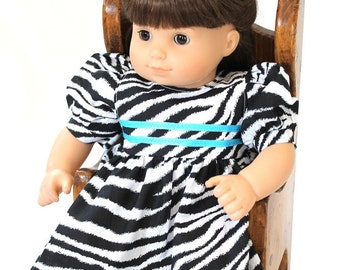 Doll Dress Zebra Striped Black White Turquoise Modern Birthday Party Summer Spring Bitty Twin 14 to 16 inch Clothes --US Shipping Included