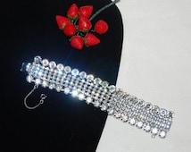 Magnificent Rhinestone Bracelet 6 Rows Vintage Mint Perfect Wedding Burlesque Evening Wear