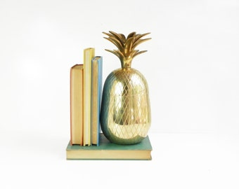 "Super Sale: Mid-Century 11"" Brass Pineapple Container or Candle Holder"
