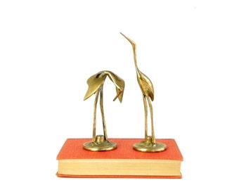 Pair of Brass Cranes- Vintage