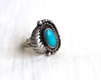 Vintage Turquoise Ring Size 7 Feather Design Southwestern Statement Jewelry Native American Style
