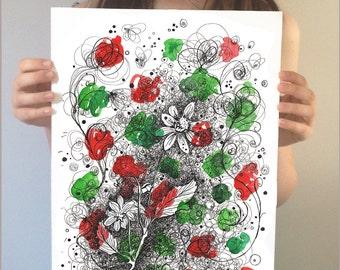 Original Artwork Flower Illustration. Original abstract art. Original drawing. Pen and ink drawing. Abstract watercolor original wall art