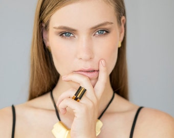 Three Rectangle Signet Black and Gold Stacking Ring, three stacking rings, gold and black rings