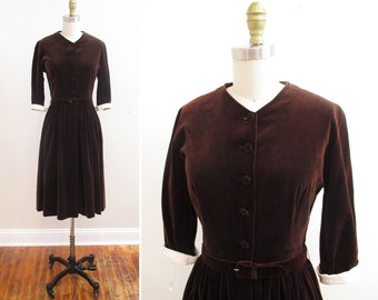 Vintage 1950s Dress | Chocolate Brown 1950s Velvet Dress | size small | 5D005