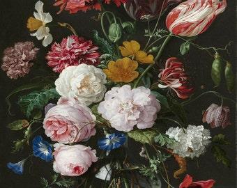 Dutch Floral Still Life Botanical Print, Giclee, Art Print, Antique Botanical, Flower Print, Old World Art, Rose Print, Large Botanical Art
