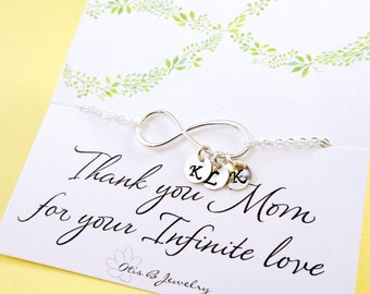 Wedding gift for Mom, Mother of the Bride gift, Mother of the Groom gift, Personalized infinity bracelet,Mother in law gift, Infinite love