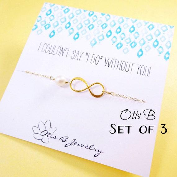 Wedding jewelry set of THREE Infinity bracelets, Pearl bracelets, Be my Bridesmaid cards, Bridesmaid gifts, Bridal bracelets, Otis B