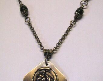 Antique Brass Equestrian Pendant Necklace, Horse Pendant, Brass Horse Pendant, Horse Lover Western Horse Necklace, Horseshoe Western Jewelry