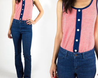 Vintage 1960s Red White and Blue Striped Button Tank Top Size S or M