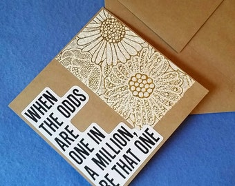One in a Million - Square Blank Card - Recycled Handmade Paper & Kraft Paper