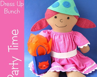 Party Time - doll dress, hat and gift bag patterns