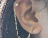 Double Chain Cuff Earring, Gold Ear Cuff with Stud Earring, Handmade Cuff with Dangle Chain, Wide Ear Cuff, Gold Stud Earring Olive Yew-3169