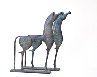 Greek Horse Sculpture, Bronze Ancient Greek Geometric Horse, Solid Bronze Metal Art Sculpture, Greek Art, Museum Replica, Equine Art Decor