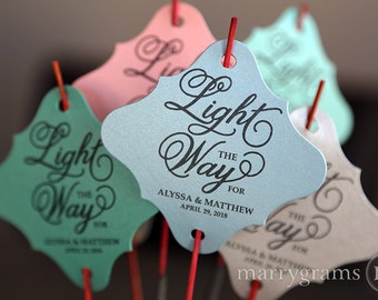 Sparkler Tags Light the Way For - Wedding Favor Tags Script Custom w Names & Date - Cute, Fun Sparklers Send Off Decor (Set of 150) SS05