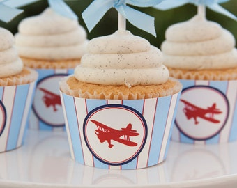 Airplane Decorations - Airplane Baby Shower Cupcake Wrappers - INSTANT DOWNLOAD